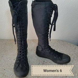 converse boots knee high
